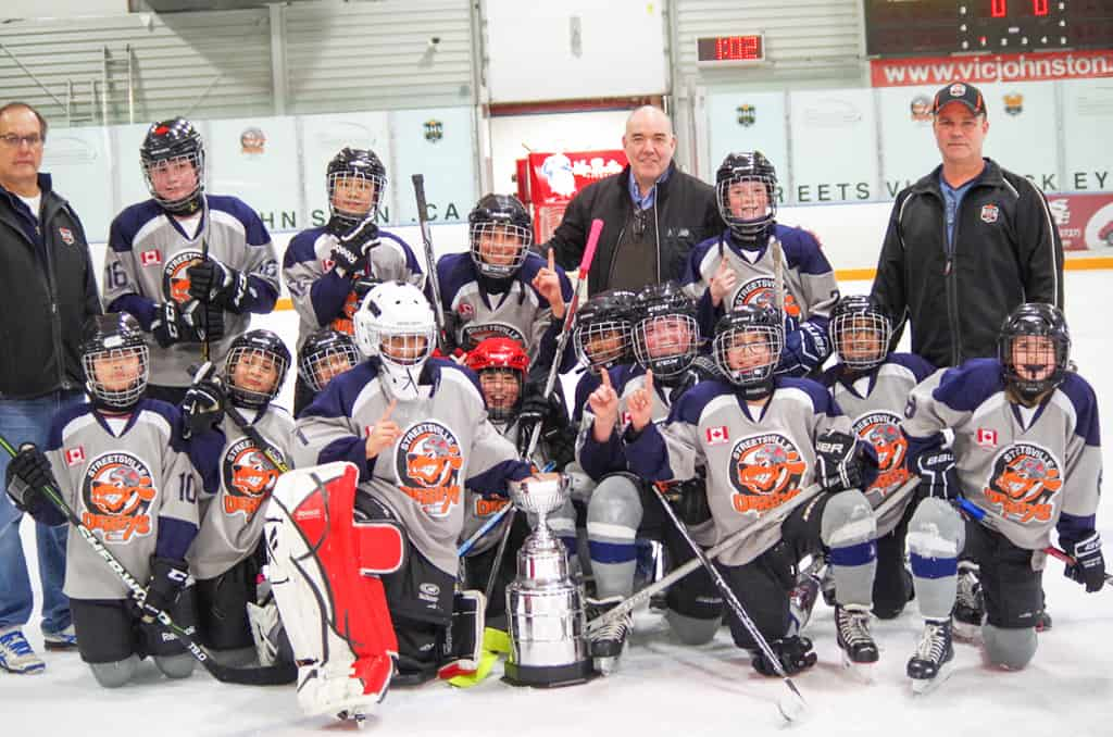 Streetsville Derbys with their coaches and trophy